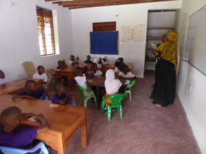 Teachers and students getting settled into new classrooms.